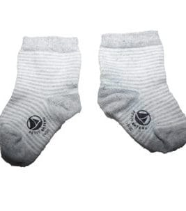 PETIT BATEAU Socken Grey-White Strip